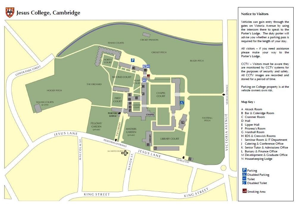 A map of Jesus College Cambridge